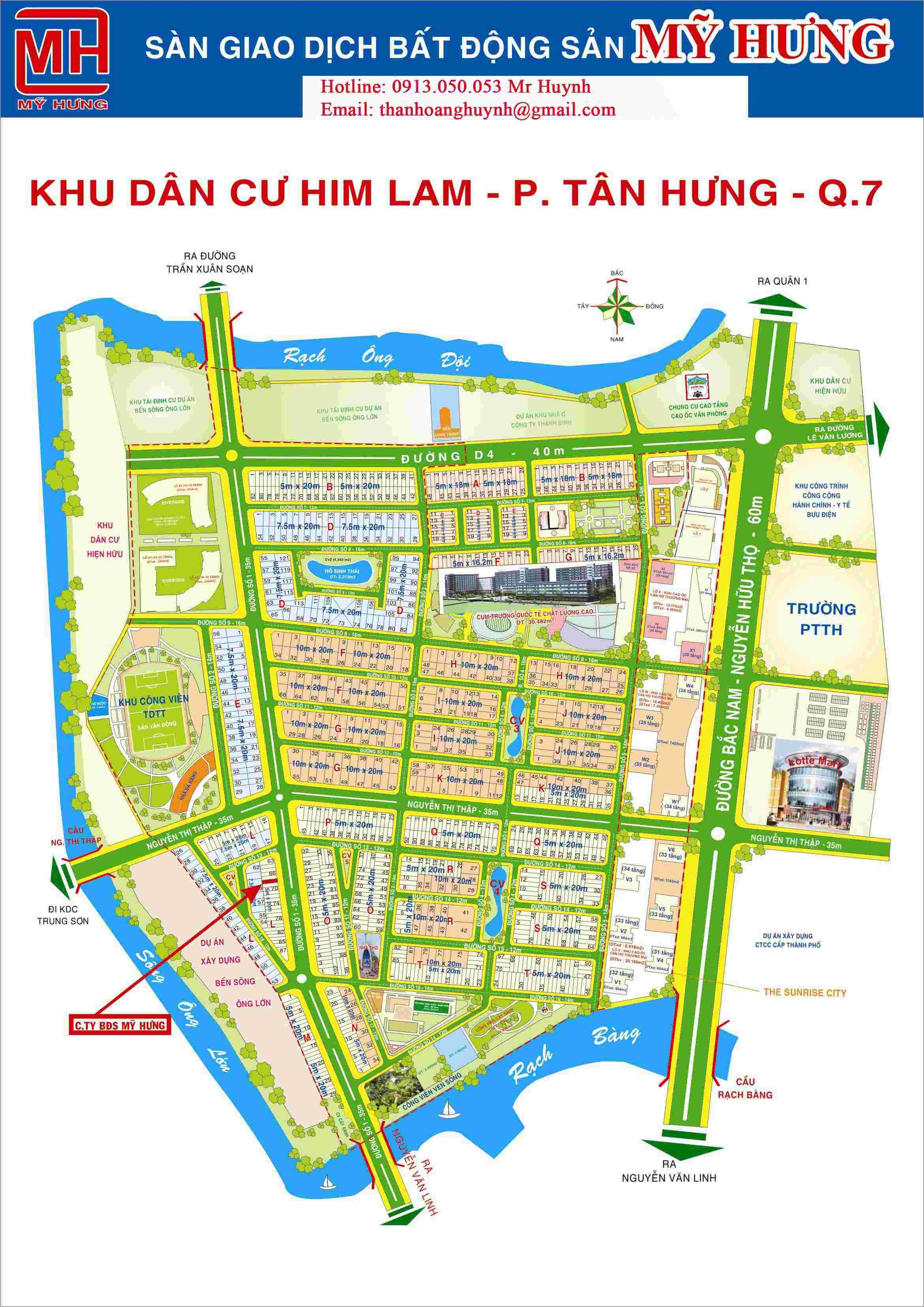 Bán đất khu dân cư Him Lam Kênh Tẻ Quận 7 mặt tiền đường D1, nền nhà phố O10, vị trí đẹp, 100m2,  giá 235 triệu/ m2. LH: 0913.050.053  Mr Huynh.