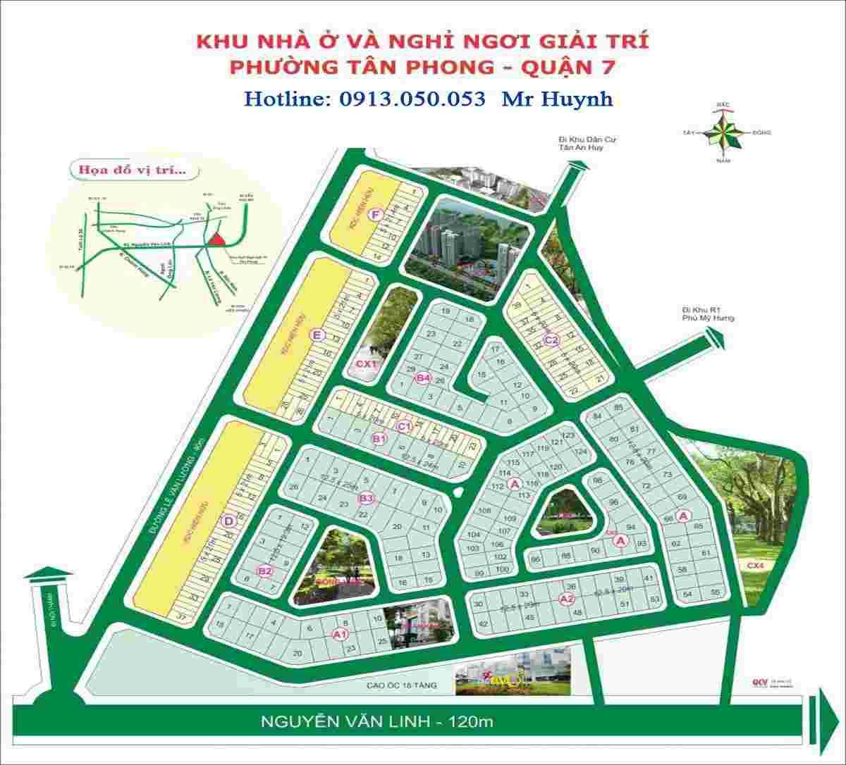 Bán đất nền nhà phố Sadeco Nghỉ Ngơi Giải Trí, Quận 7, lô C1-14, diện tích 100m2, đường 12m, giá 122tr/m2. LH: 0913.050.053